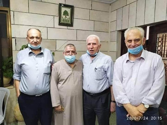 Delegation of senior PLO and Fatah figures meet with Sheikh Hassan Yousef (second from left) (official Fatah Facebook page, July 25, 2020).