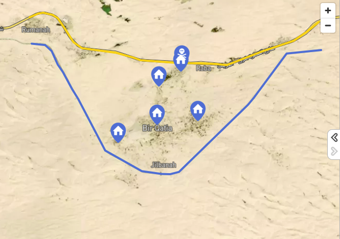 The four villages taken over by ISIS. The upper mark (with the skull) indicates the site of the attack near the village of Rabi'a (Mada Masr, July 27, 2020).