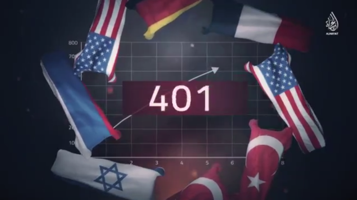 "Flags of some of the ""infidel"" countries that appear in the video. The Israeli flag is one of them (Telegram, July 26, 2020)."