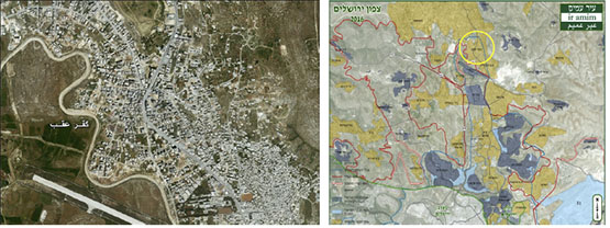 Right: Kafr 'Aqab, northeast of Jerusalem (Map from the Ir Amim website, 2016). Left: Aerial photograph of Kafr 'Aqab (Applied Research Institute-Jerusalem, 2012).