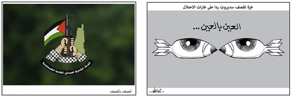 "Right: Cartoon by Alaa' al-Laqta. The Arabic reads, ""An eye for an eye, Gaza shells Sderot in retaliation for the occupation's attacks (Alaa' al-Laqta's Facebook page, August 22, 2020). Left: Logo of the terrorist organizations' joint operations room. The Arabic reads, ""A bombardment for a bombardment"" (Operations room Telegram channel, August 21, 2020)."