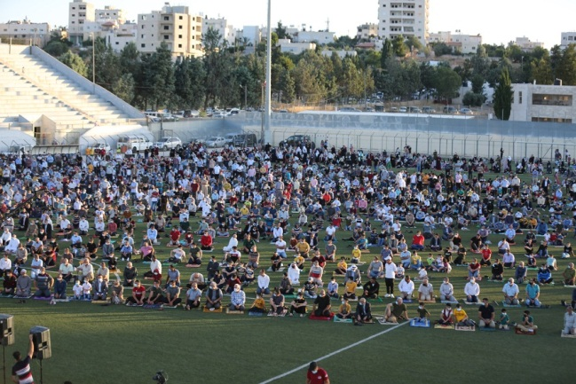 Mass Eid al-Adha prayer in the Dura Stadium in Hebron. People wore masks and there was some social distancing (Wafa, July 31, 2020).