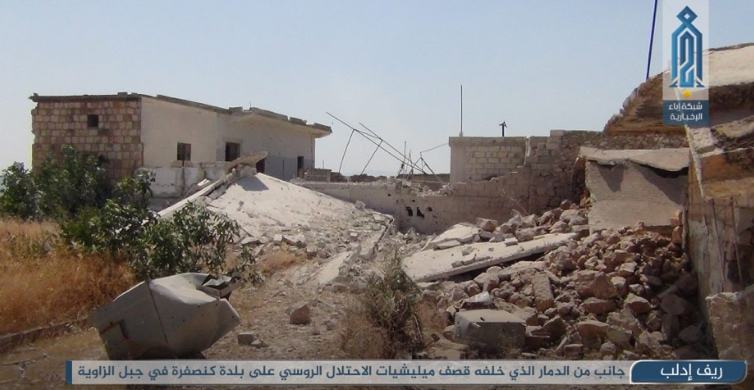 Jabal al-Zawiya: the results of the artillery fired by the forces supporting the Syrian army (Ibaa, July 29, 2020).