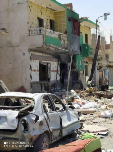 The destruction in the villages of Rabia' (right) and Janain (left) by fighting in the region (Shahed Sinaa al-Rasmia, August 2, 2020).