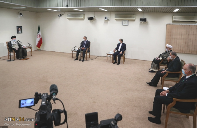 The meeting between the supreme leader of Iran and the Iraqi prime minister (ABNA, July 29, 2020).