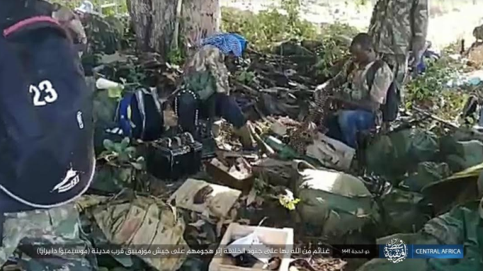 ISIS operatives near some of the Mozambican army weapons and equipment (Telegram, August 11, 2020)