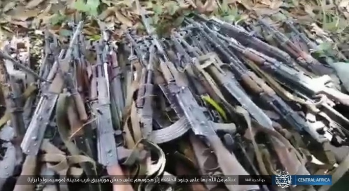 Dozens of Mozambican army assault rifles seized by ISIS operatives in an attack in the area of Cabo Delgado, in the northeastern part of the country.