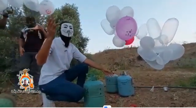 From a video documenting the Sons of al-Qoqa launching of balloons from the central Gaza Strip (YouTube, August 14, 2020).