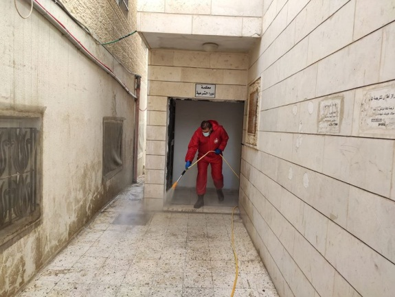 Disinfection campaign in Durra (Facebook page of the Palestinian Civil Defense, August 10, 2020)