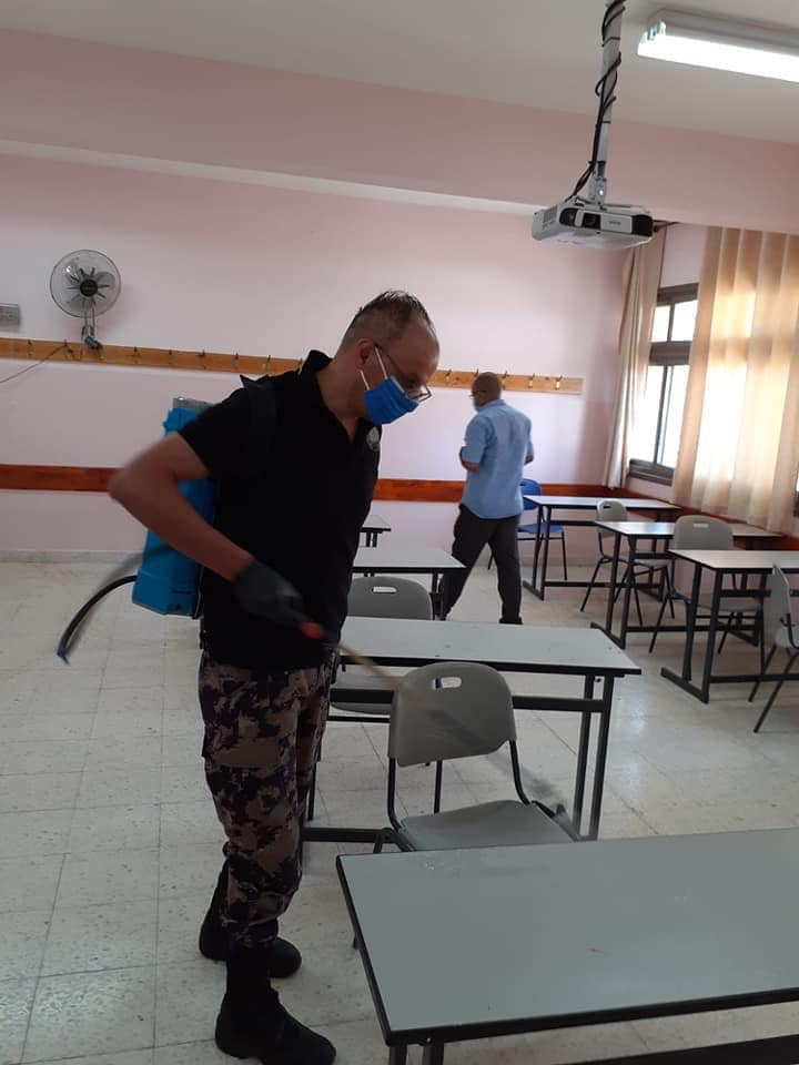 Disinfection of the high school in Al-Sawahra (Facebook page on COVID-19 in the PA Jerusalem district, August 15, 2020).