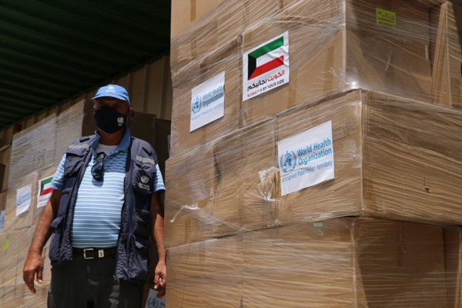 Medical equipment sent to the Gaza Health Ministry by UNRWA (Facebook page of the representative office of the WHO in the territories, August 13 and 16, 2020)