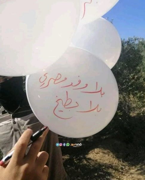 """An operative of the Ahfad al-Nasser network launches balloon clusters. The inscription on the balloon reads, """"Not the Egyptian delegation and not anything else"""" (Paldf, August 17, 2020)."""