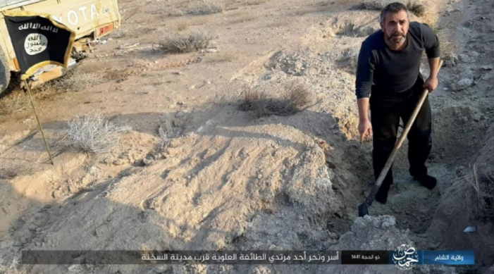 The Alawite civilian digging his own grave before being executed (Telegram, August 16, 2020)