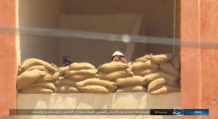 Egyptian soldier in a position south of the village of Rabi'a. ISIS snipers fired at him.