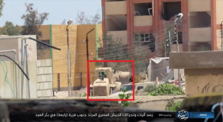Egyptian army bulldozer as observed by ISIS south of the village of Rabi'a.