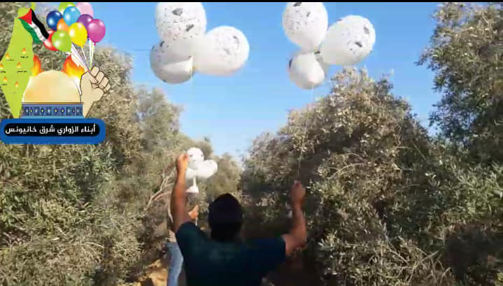 The Hamas-affiliated Sons of al-Zawari unit in eastern Khan Yunis posted a picture of launching a balloon cluster (Sons of al-Zawari unit in eastern Khan Yunis Facebook page, August 19, 2020).