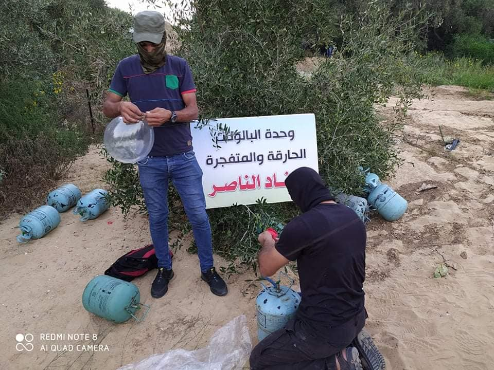 "Ahfad al-Nasser operatives launch IED balloons (Facebook page of the Ahfad al-Nasser ""young revolutionaries,"" August 23, 2020)."