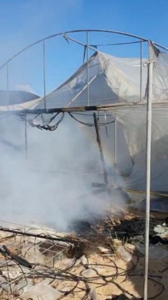Damage to hothouse caused by fire (Shehab Facebook page, August 22, 2020).
