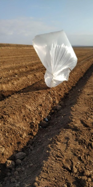 balloon found in the field of a kibbutz near the border (Twitter account of the Lebanese-Judea and Samaria-Gaza region, August 19, 2020).