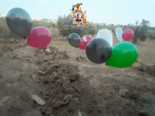Operatives of the Sons of al-Qoqa units of the Popular Resistance Movement in the southern Gaza Strip launch balloons (Abrrar forum, August 24, 2020).