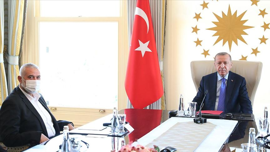 The Hamas delegation, led by Isma'il Haniyeh, meets with the Turkish president in Istanbul (Hamas website, August 22, 2020).