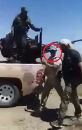 Senior Russian officer Vyacheslav Gladkih (apparently in the red circle) near Deir ez-Zor a short while before the explosion of the IED (or mine) (Deir ez-Zor 24 Twitter account, August 21, 2020)