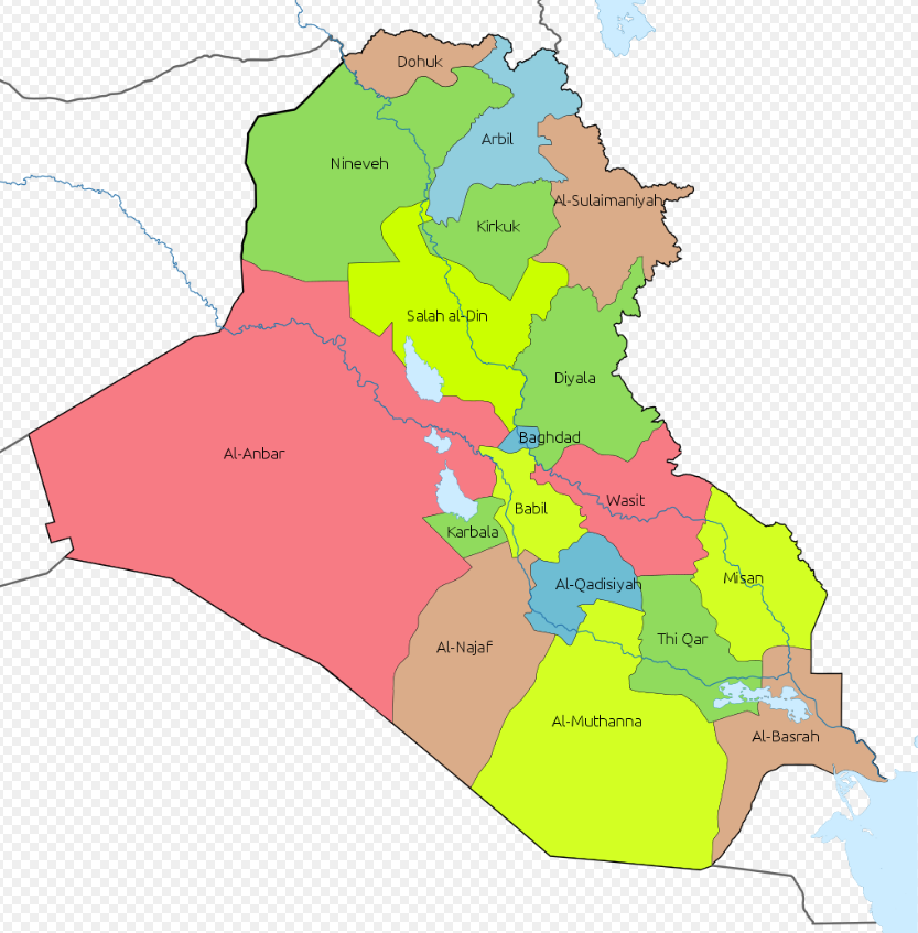 Map of the provinces in Iraq (Wikipedia)