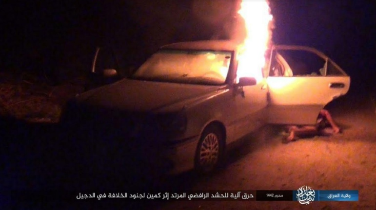 Popular Mobilization vehicle set on fire by ISIS during the attack (Telegram, August 22, 2020)