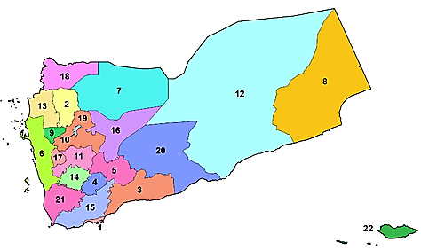 Yemen provinces: Al-Bayda Province, controlled mostly by the Houthi movement; it is also the epicenter of ISIS's activity in Yemen (5); Sana'a Province, controlled by the Houthi movement (19); Aden Province, controlled by the pro-Saudi forces (1) (Wikipedia)
