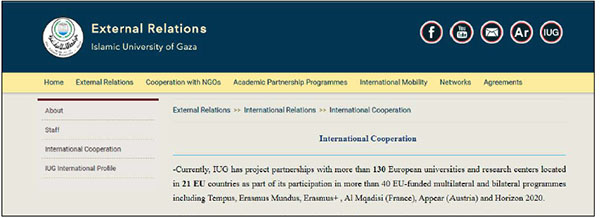 Project partnerships between the IUG and EU universities and research centers (IUG website, August 2020).