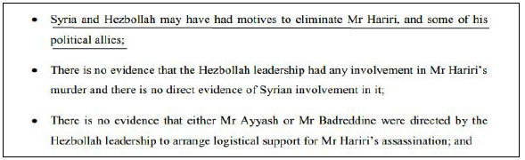 Remarks in the verdict on the motives of Syria and Hezbollah for the assassination: the motives exist, there is no proof (Section 57, p. 15). Emphasis added by the ITIC.
