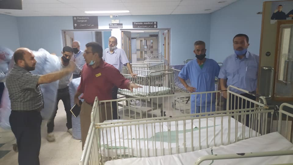 Preparing the European Gaza Hospital to receive Covid-19 cases (Facebook page of the European Gaza Hospital, August 27, 2020).