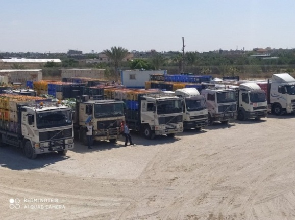 Transferring food from Israel to the Gaza Strip through the Kerem Shalom Crossing (al-Ra'i news agency, August 28, 2020).