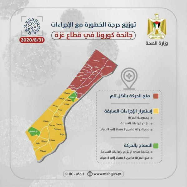 Infographic issued by the ministry of health in Gaza divides the Gaza Strip by color according to the seriousness of the spread of COVID-19. Red areas are under full lockdown, in yellow areas there is limited movement with preventive measures and a curfew between 20:00 and 08:00, in green areas movement is permitted with preventive measures and a curfew between 20:00 and 08:00 (Dunia al-Watan, September 1, 2018).