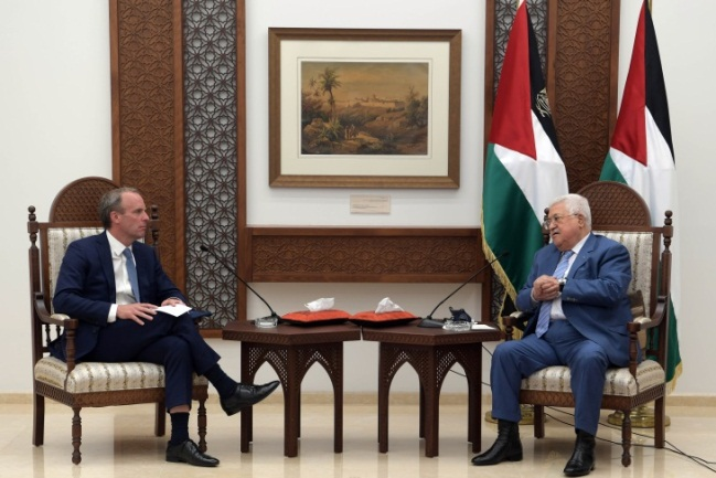 Mahmoud Abbas meets with Dominic Raab, the British foreign minister.