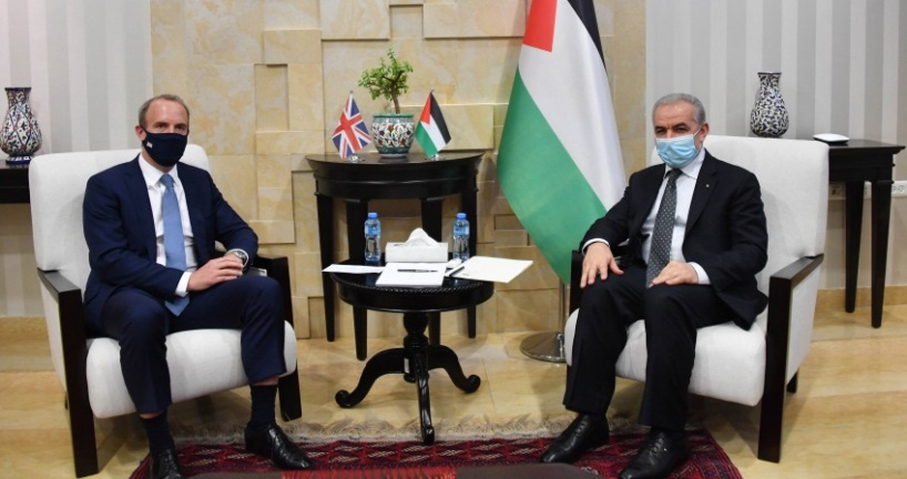 PA Prime Minister Muhammad Shtayyeh meets with Dominic Raab (Wafa, August 25, 2020).
