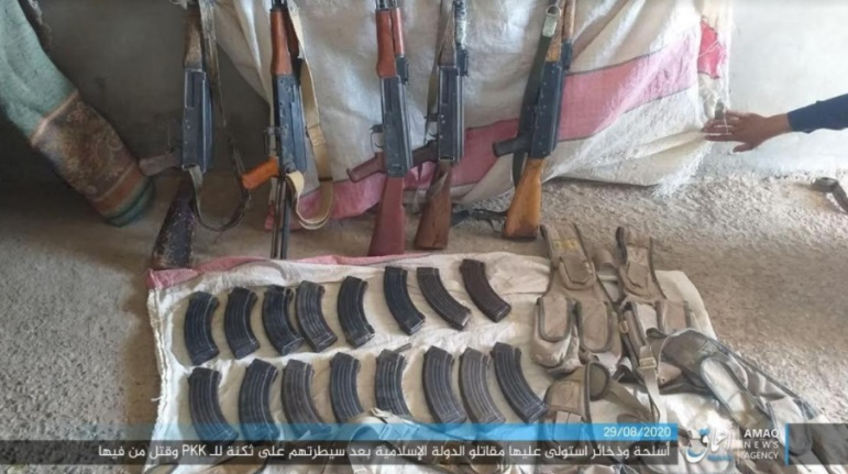 SDF weapons and ammunition seized by ISIS operatives near the Syria-Iraq border.