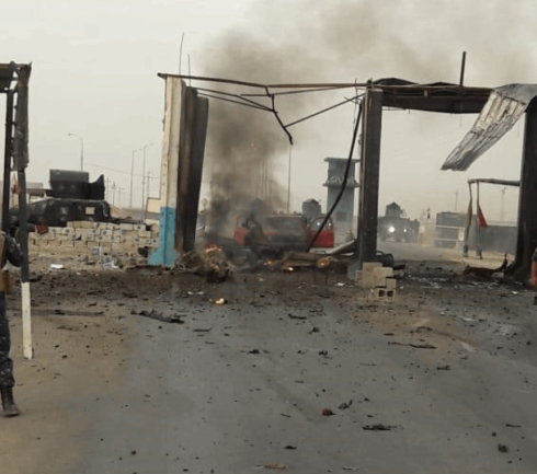 Iraqi security force checkpoint on the Tikrit-Kirkuk road, destroyed by an ISIS car bomb (al-Sumaria, September 1, 2020).