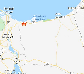 The site of the attack at Rabi'a, about 40 kilometers from the Suez Canal (Google Maps).