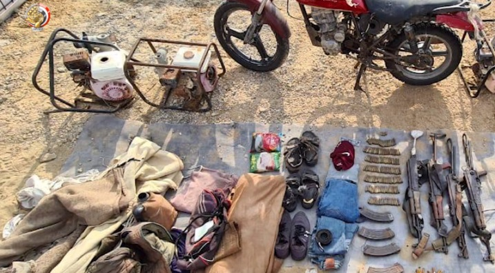 Weapons and other military equipment (including a motorbike) seized from ISIS operatives.