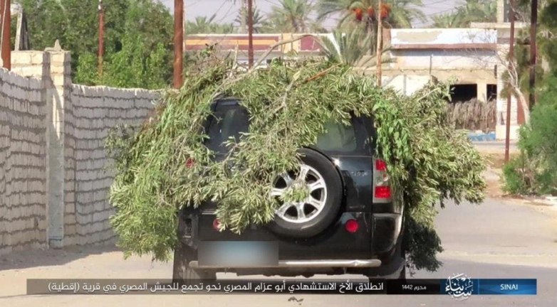 ISIS car bomb driven by a suicide bomber en route to a concentration of Egyptian army forces in the village of Aqtia.