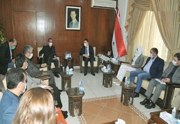 The meeting of the delegation led by the Iranian deputy minister of defense with the Syrian minister of housing (Tabanak, August 25, 2020).