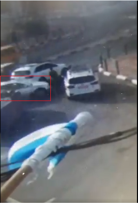 CCTV footage shows the terrorist's vehicle arrive and hit the soldier and policeman (Shehab Twitter account, September 2, 2020).