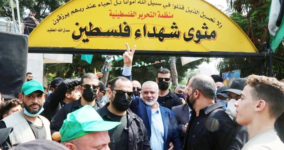 Haniyeh at the Sabra and Shatila cemetery (Palinfo, September 4, 2020).