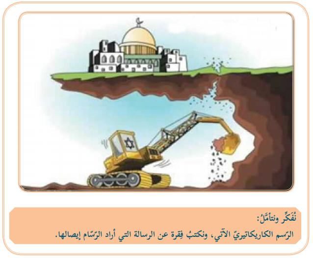 An important omission is that of the cartoon showing an Israeli bulldozer trying to destroy the Al-Aqsa mosque (Social Studies, Grade 7, Part 1 – p. 64 in the former edition):