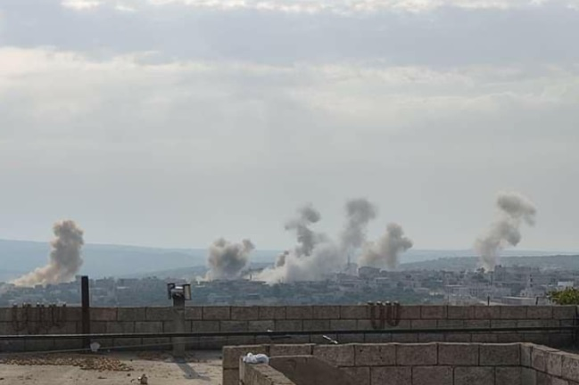 Syrian army artillery hitting Ariha, south of Idlib (Idlib Plus Facebook page, September 6, 2020).