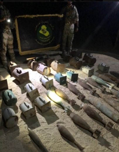 IEDs and ammunition located in the area of Hit (Facebook page of the Iraqi Defense Ministry, September 4, 2020)