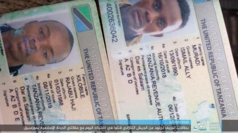 Driver's licenses of two Tanzanian soldiers killed in an attack against ISIS in Mocimboa da Praia (Telegram, September 5, 2020)