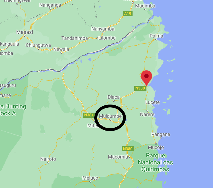 The city of Muidumbe (circled in black) southwest of the port city of Mocimboa da Praia (marked in red) (Google Maps)
