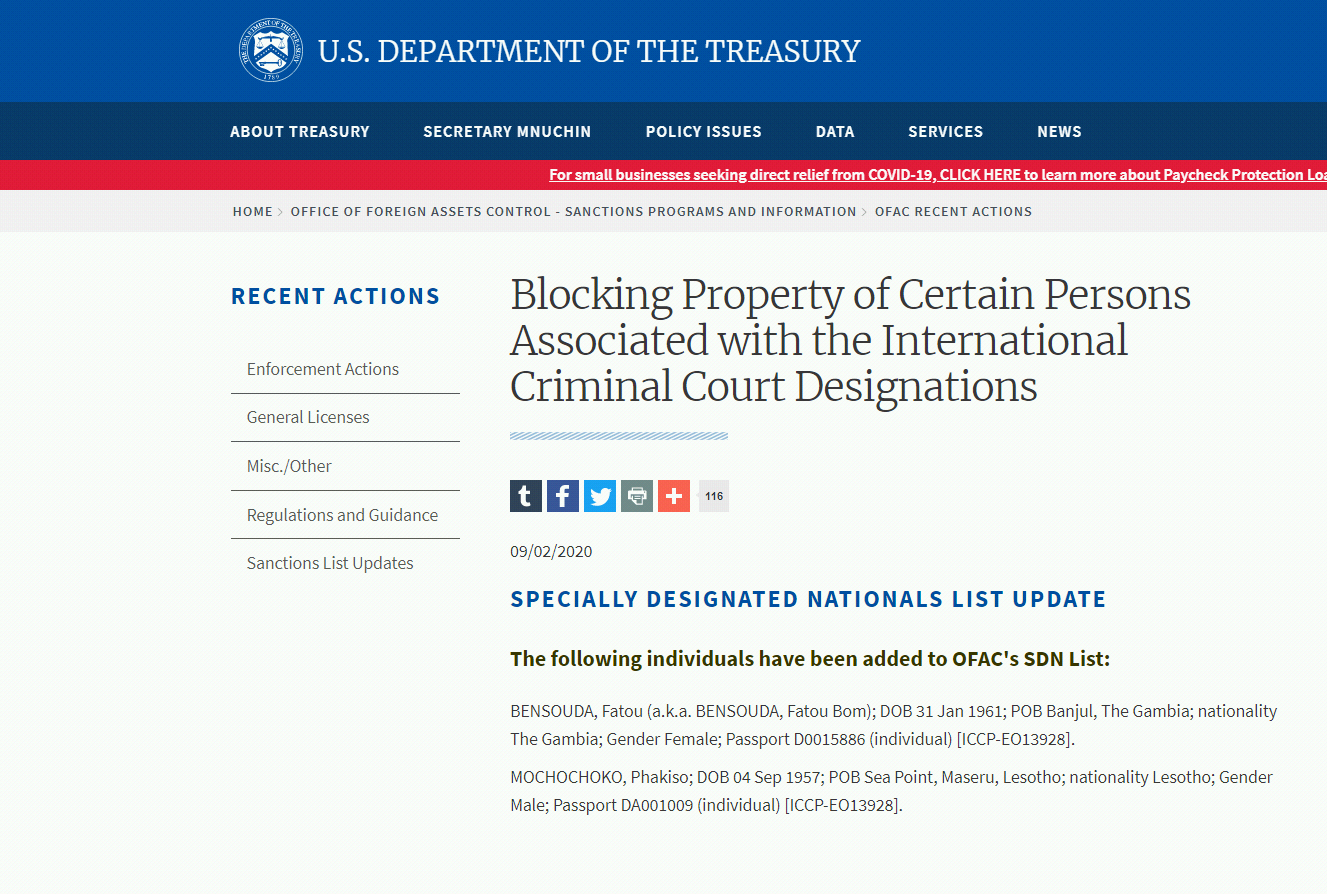 US Department of the Treasury's statement (Department of the Treasury's website, September 2, 2020)